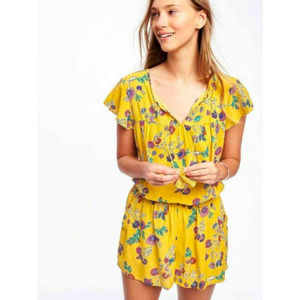 Old Navy Women's Yellow Floral Romper